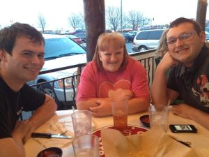 Dinner at On the Border.  L to R- B's bf Nick, LeAnna, and Nate