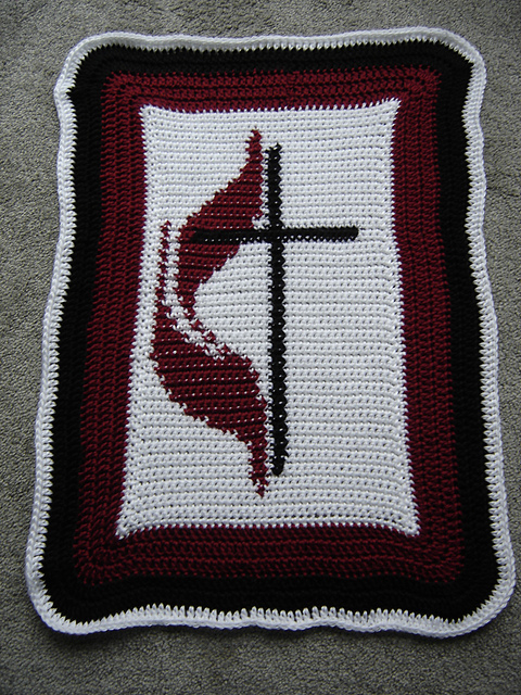 photo credit- http://www.ravelry.com/patterns/library/methodist-flame-and-cross-baby-blanket
