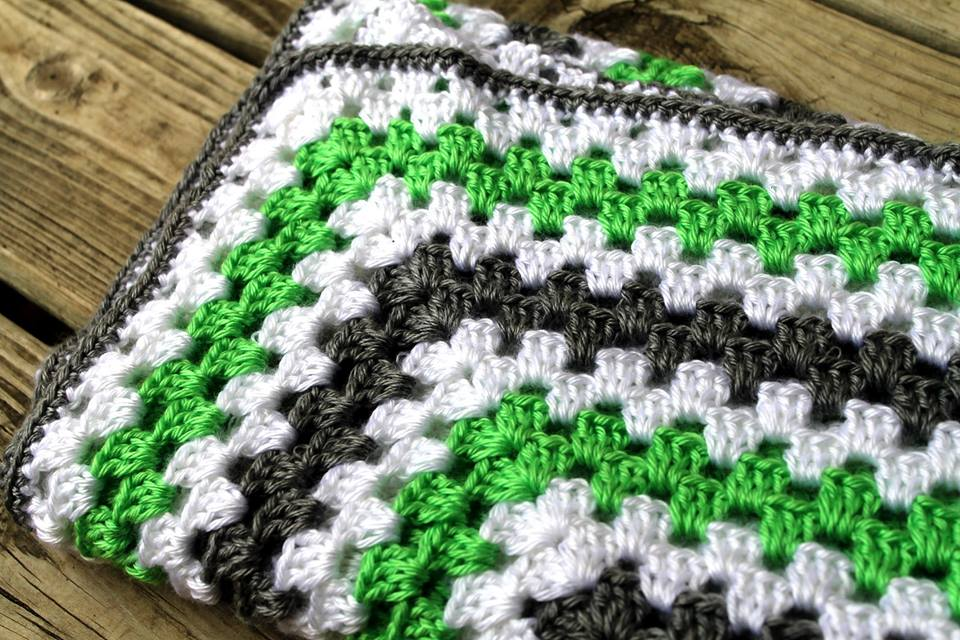 Giant Granny Square Baby Blanket Lime Green And Heather Grey